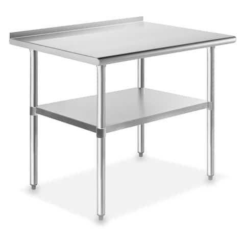 36 x 24 Inch NSF Stainless Steel Prep Table w/ Backsplash by GRIDMANN