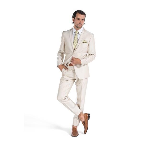 d60a16277b Shop Porto Filo Men's Champagne Shinning 2 Piece Slim Fit Suit ...