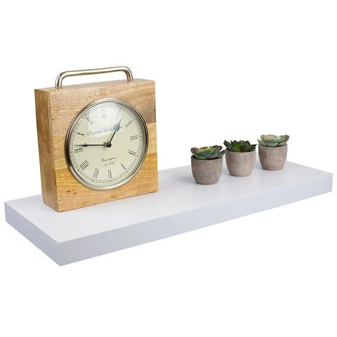 Home Basics White Long Rectangle Floating Wood Shelf - 1.50 x 9.25 x 23.62