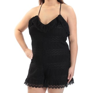 GUESS $79 Womens New 1580 Black Lace Spaghetti Strap V Neck Casual Romper XL B+B