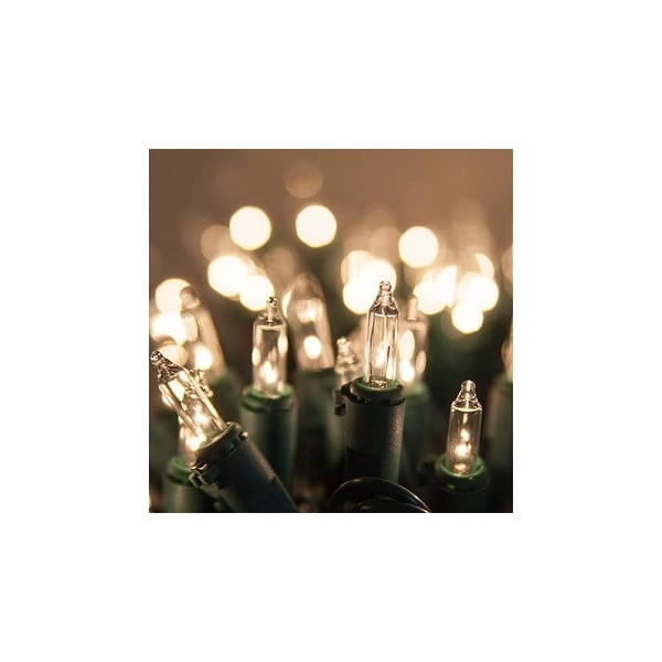 "Wintergreen Lighting 15182 13.3' Long Indoor Standard 35 Mini Light Holiday Light Strand with 4"" Spacing and White Wire"