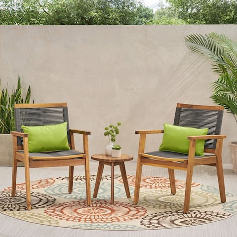 Mcgill Outdoor 3 Piece Acacia Wood Chat Set by Christopher Knight Home