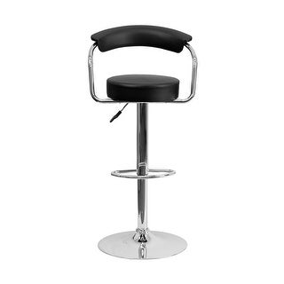 Offex Contemporary Black Vinyl Adjustable Height Bar Stool With Arms And Chrome Base