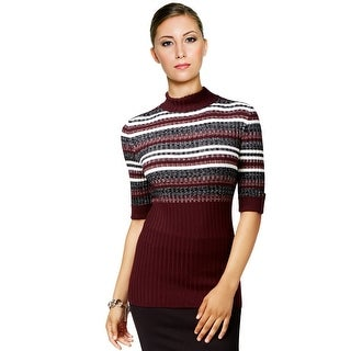 Style & Co Mock Neck Partial Striped Sweater Top