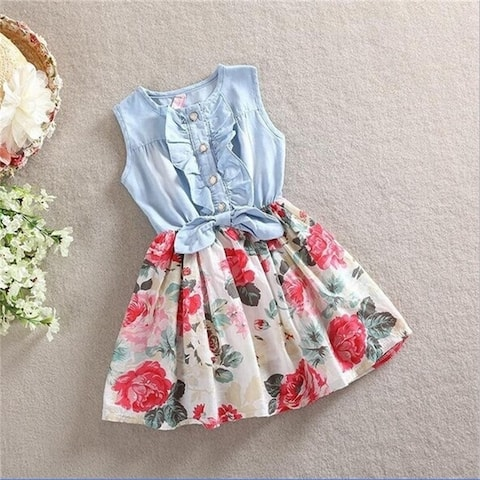 Kids Cute Princess Jean Denim Floral Dress