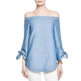 Free People Womens Blouse Linen Heathered
