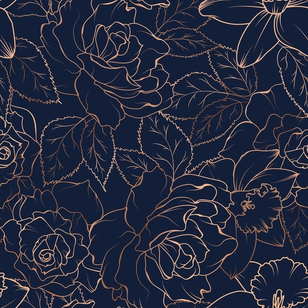 Rose Peony Daffodil Narcissus Blossom Removable Wallpaper - 24'' inch x 10'ft