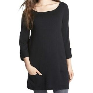 Caslon NEW Deep Black Women's Size Large L Scoop Neck Tunic Sweater
