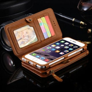 Leather Zipper Wallet Multi-functional Handbag Detachable Removable Magnetic Case with Flip Card Holder Cover for iPhone