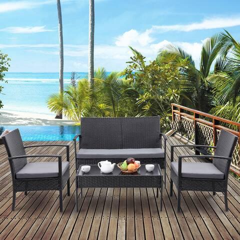 Costway 4 PCS Outdoor Patio Rattan Wicker Furniture Set Table Sofa Cushioned Deck Black