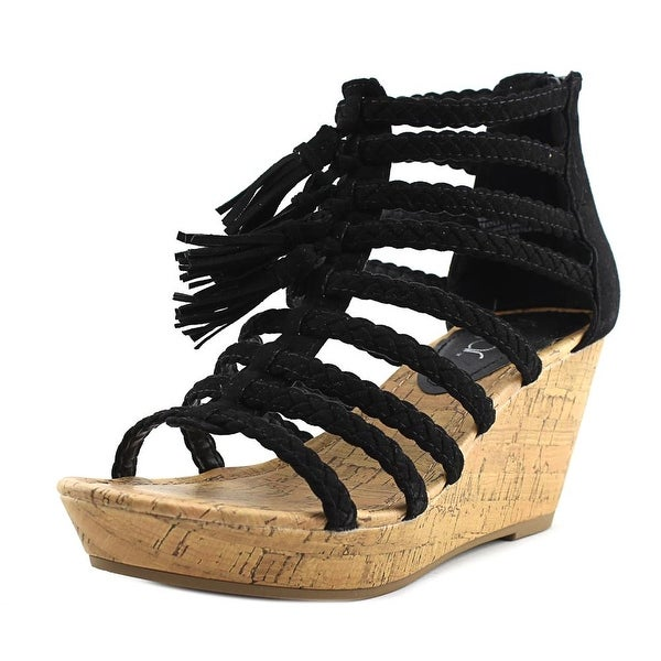 Sugar Jungles Women Open Toe Synthetic Black Wedge Sandal