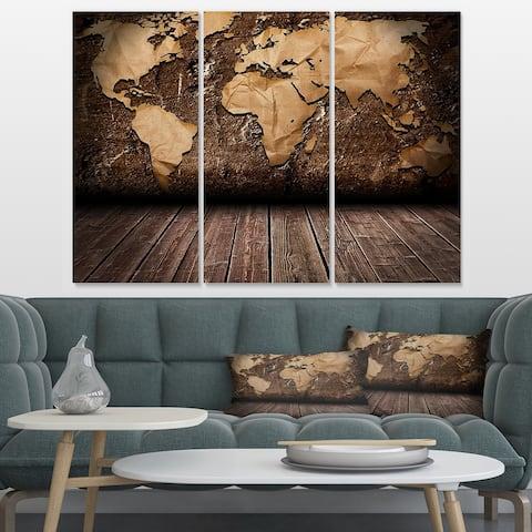 Designart 'Vintage Map with Wooden Floor' Contemporary Canvas Art Print - 36x28 - 3 Panels