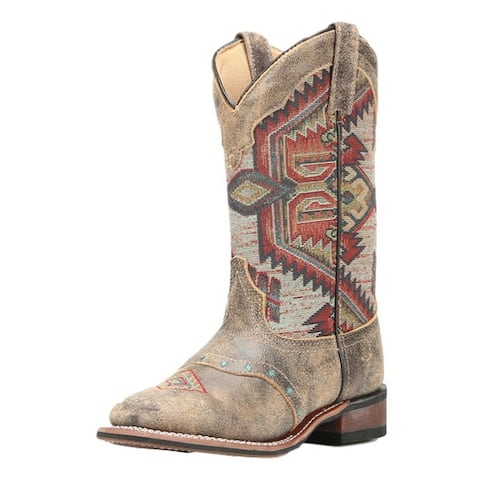 Laredo Western Boots Womens Scout Aztec Square Toe Stockman Brown - Taupe