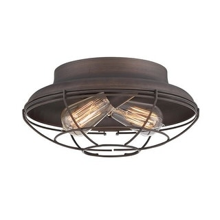 "Millennium Lighting 5382 Neo-Industrial 2 Light 12"" Wide Flush Mount Ceiling Fixture"