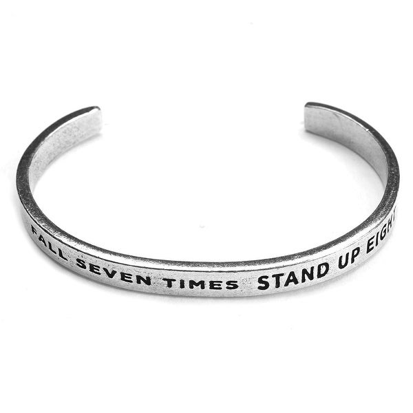 Women's Note To Self Inspirational Lead-Free Pewter Cuff Bracelet - Fall Seven Times - Silver