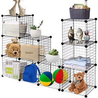 Gymax 12 Cube Grid Wire Organizer Wardrobe Shelves Bookcase DIY