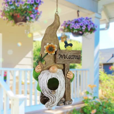 Exhart Welcome Gnome Hanging Bird House, 10.5 Inches