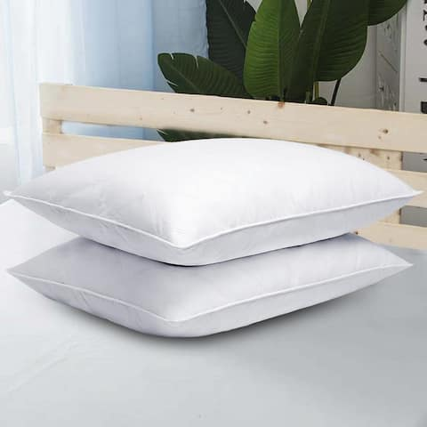 2 Pack Goose Down Quilted Firm Bed Pillows for Side & Back Sleepers - White