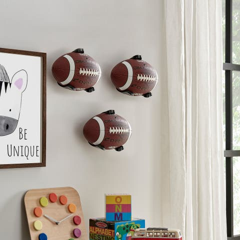 Wall Mount Ball Holder and Organizer for Footballs - Set of 3