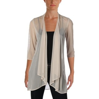 R&M Richards Womens Petites Cardigan Top Mesh Sheer