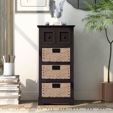 Vintage End Table with 3 Baskets for Livingroom Accent Style