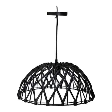 Aurelle Home Modern Metal Rattan Pendant Lamp
