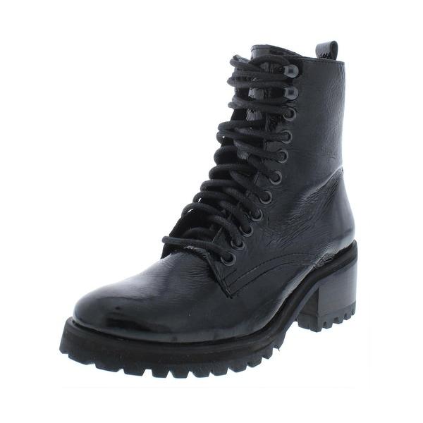 eb7e7ba14ea Shop Steve Madden Womens Geneva Combat Boots Patent Leather Ankle ...