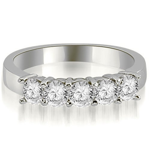 1.00 cttw. 14K White Gold Round Diamond Classic 5-Stone Prong Wedding Band