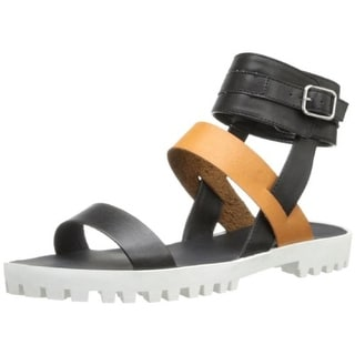 Qupid Womens Cooper Faux Lether Colorblock Flatform Sandals - 6 medium (b,m)