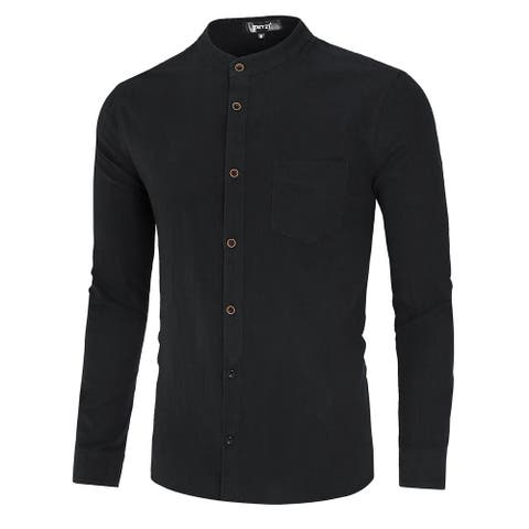 Men Hipster Banded Collar Shirt Slim Cotton Long Sleeve with Pocket - Black