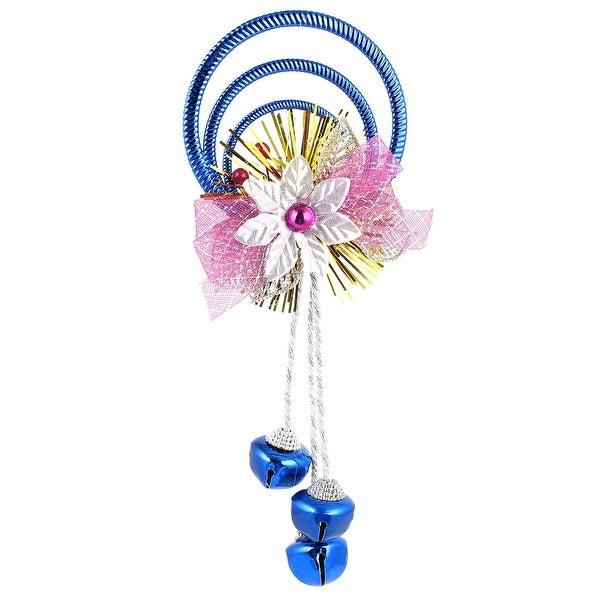 Unique Bargains Plastic Rings Metal Bell Pendant Dark Blue for Indoor Xmas Trees Ornament