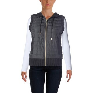MICHAEL Michael Kors Womens Ribbed Hooded Casual Vest