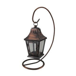 Antique Copper Finish Metal Candle lantern and Stand - 13.5 X 9.5 X 5.5 inches