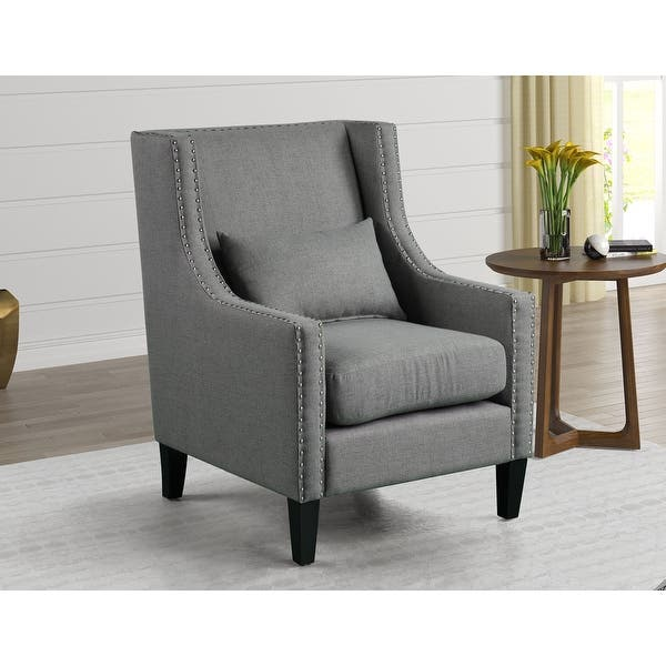 Best Master Furniture Upholstered Accent Arm Chair With Nailheads Overstock 32539337