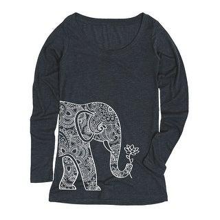 Left Side Elephant Holding Lotus-ADULT Women's LONG SLEEVE TEE