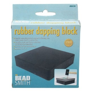 Beadsmith Rubber Bench Block, Base For Steel Block Square 4 X 4 Inches, 1 Piece, Black