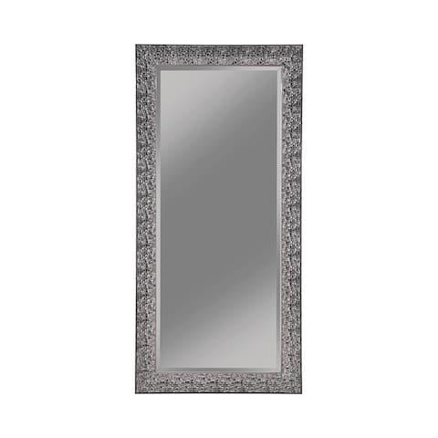 Rectangular Beveled Accent Floor Mirror with Glitter Mosaic Pattern, Gray