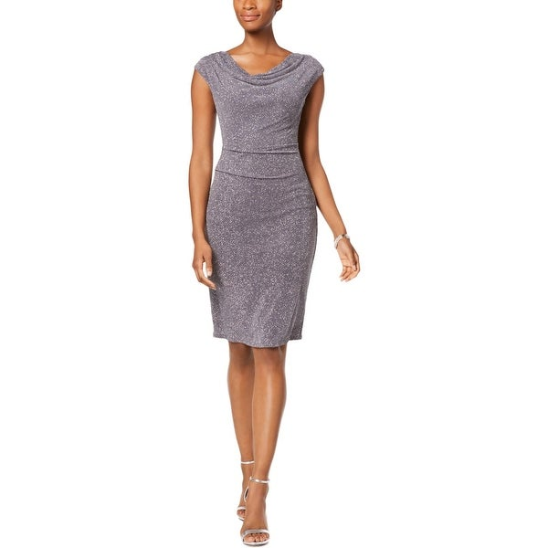 Jessica Howard Womens Cocktail Dress Glitter Sleeveless