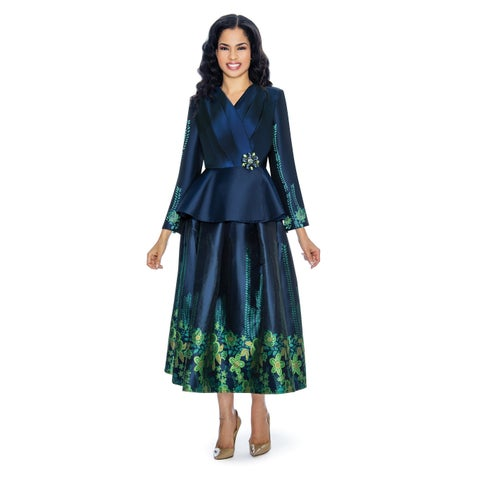 Giovanna Collection Women's 2-pc Jacquard on Shimmery Virtual Silk Skirt Suit