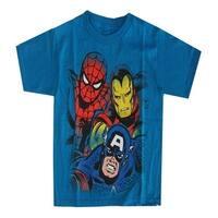 Marvel Little Boys Aqua Captain America, Spiderman Iron Man Print T-Shirt