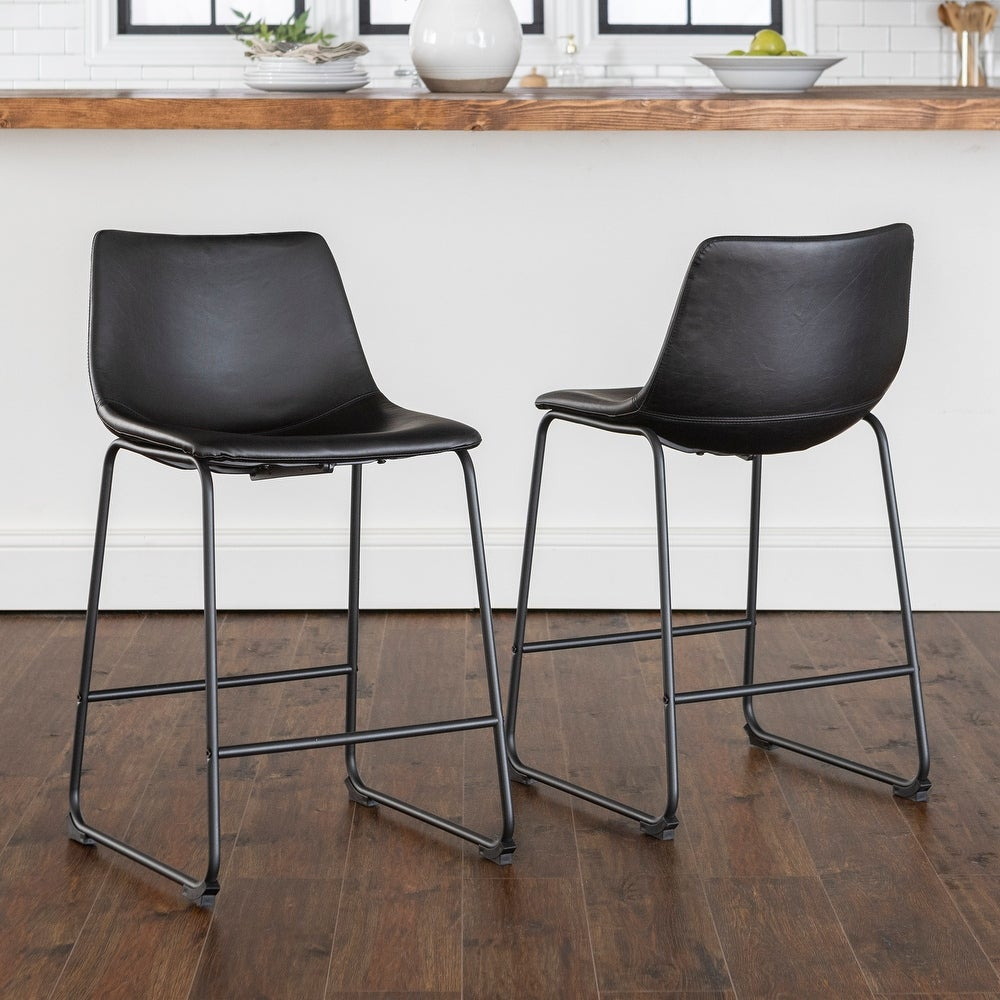 Shop Carbon Loft Prusiner Black Faux Leather Counter Stools (Set of 2) from Overstock on Openhaus