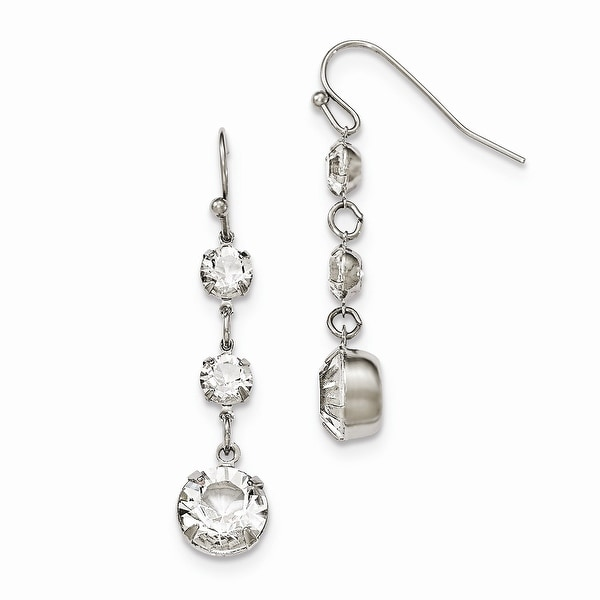 Silvertone White Swarovski Elements Filigree Pear Dangle Earrings