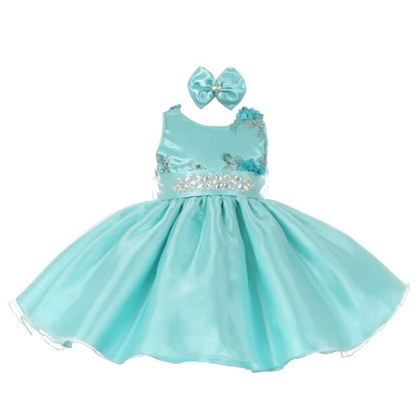 b20aaadc56f Baby Girls Aqua Floral Sleeveless Sparkle Stone Special Occasion Dress