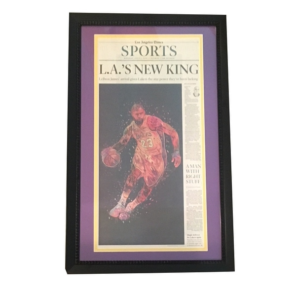 pretty nice c7aa4 d5d59 LeBron James Los Angeles Lakers LA Times Framed Basketball Newspaper NEW  KING