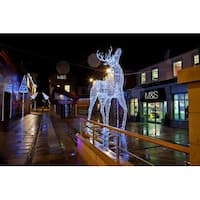 9.5' Commercial Size White Reindeer Lighted Christmas Outdoor Decoration