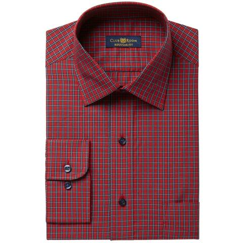 """Club Room Mens Brodie Plaid Button Up Dress Shirt, red, 18.5"""" Neck 34""""-35"""" Sleeve - 18.5"""" Neck 34""""-35"""" Sleeve"""