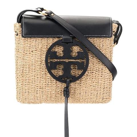Tory Burch Miller Straw Leather Crossbody Handbag in Midnight