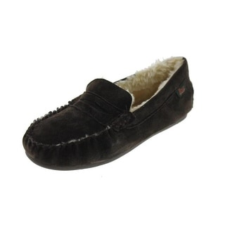 G.H. Bass & Co. Mens Moccasin Slippers Suede Faux Fur Lined - 8