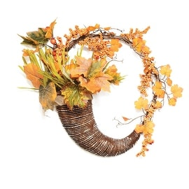 "18"" Autumn Harvest Decorative Artificial Pumpkins Berries and Leaves Cornucopia Wreath - Unlit"