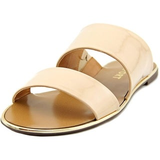 Report Chieftan Women Open Toe Patent Leather Nude Slides Sandal